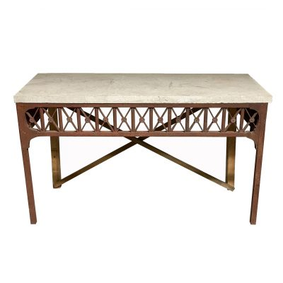 Vintage midcentury console table, stone top & iron base