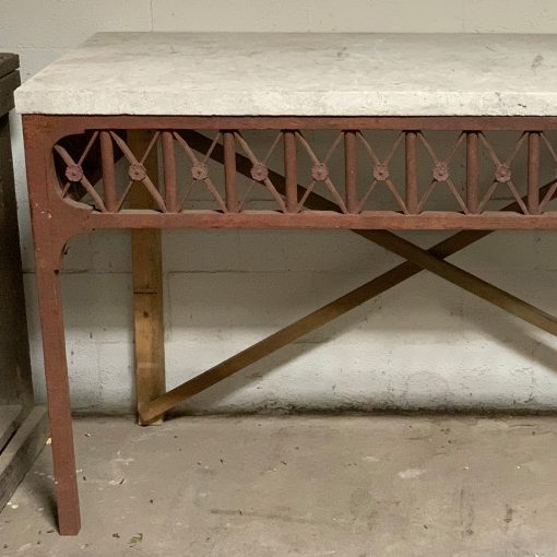 Mid century console table, stone top & iron base left view