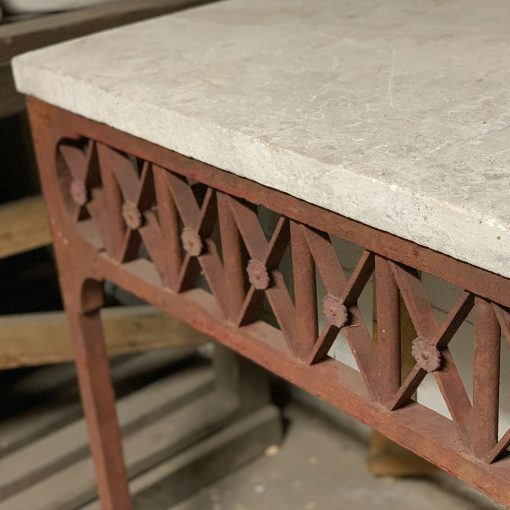 Vintage stone top console table, left angle