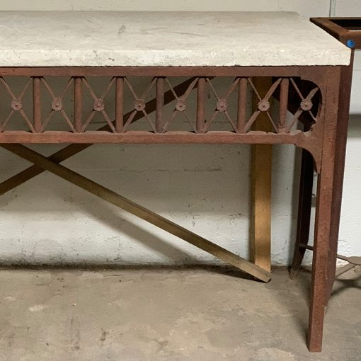 Vintage mid century stone top console table on iron base, right side