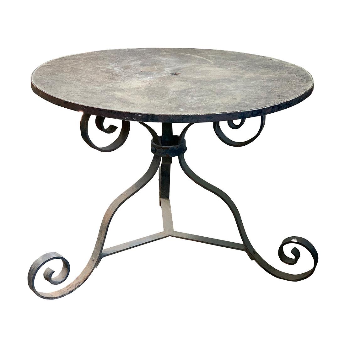 Antique Cast Stone Garden Table on Iron Base  Inner Gardens