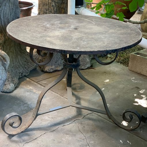 Antique bistro table, cast stone top & iron table base