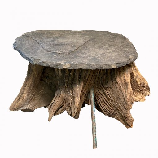 Artisan coffee table, tree root base and slate table top