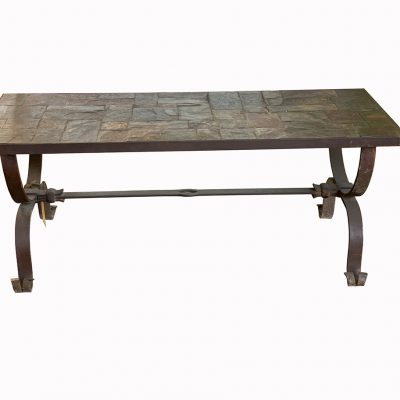 Vintage mosaic tile coffee table with slate table top on wrought iron base