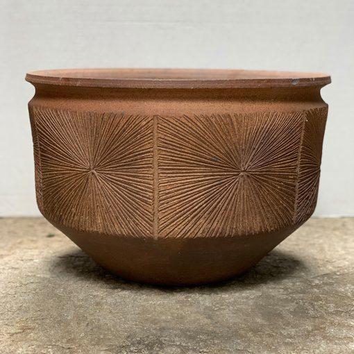Earthgender mid century pottery planter with sunburst design