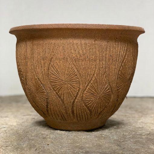 Teardrop & sunburst Earthgender vintage pottery planter