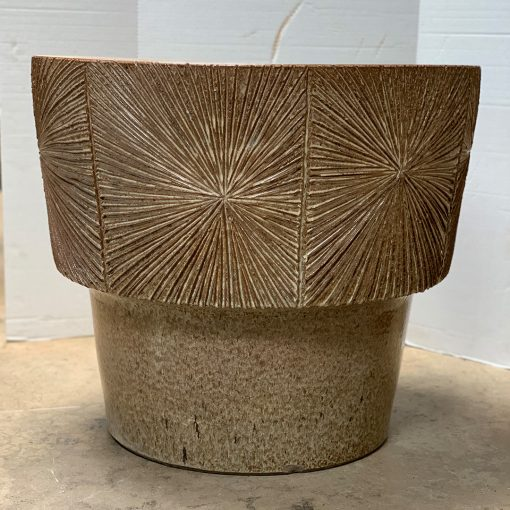 Earthgender mid century pottery planter with brown-speckled glaze & sunburst design