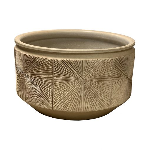 Large Earthgender sunburst planter in rare ochre glaze