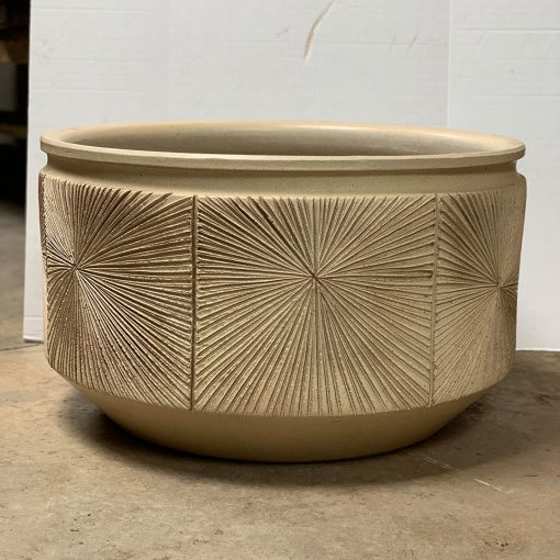 Large ochre-glazed Earthgender pottery planter with sunburst design