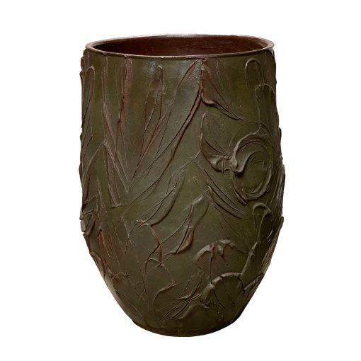David Cressey mid century pottery planter in rare green glaze & expressive design