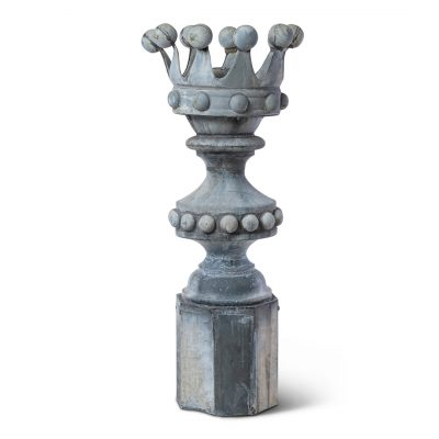 Antique roof finial, zinc crown shape, French garden decor