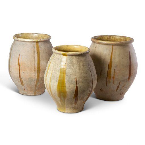 French antique terra cotta planter with drip glaze