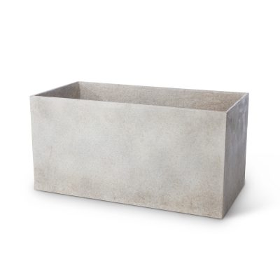 Inner Gardens Modern Hedge Trough in French Grey. Mid century modern planters designed by renowned landscape designer Stephen Block.