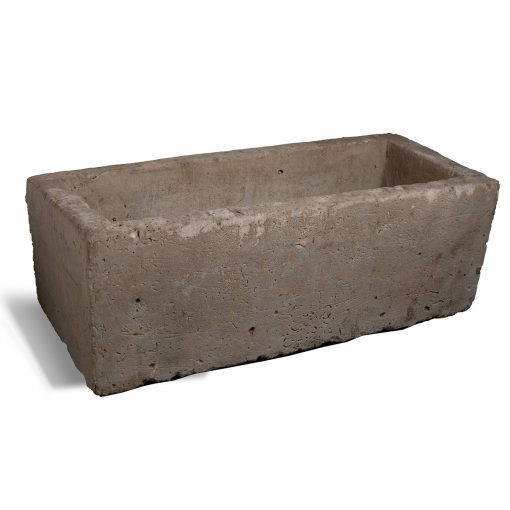Large rectangular trough planter for outdoor, made of antique limestone