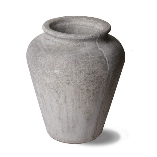 Vintage cast stone planter jar in grey tones, made in mid century France