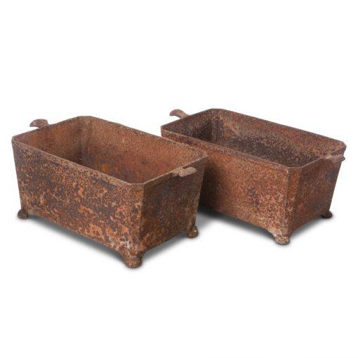 2 vintage water trough planters made of metal