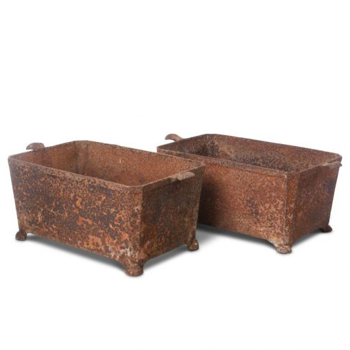 Pair of vintage metal trough planters