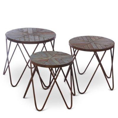 3 teak nesting tables, outdoor or indoor