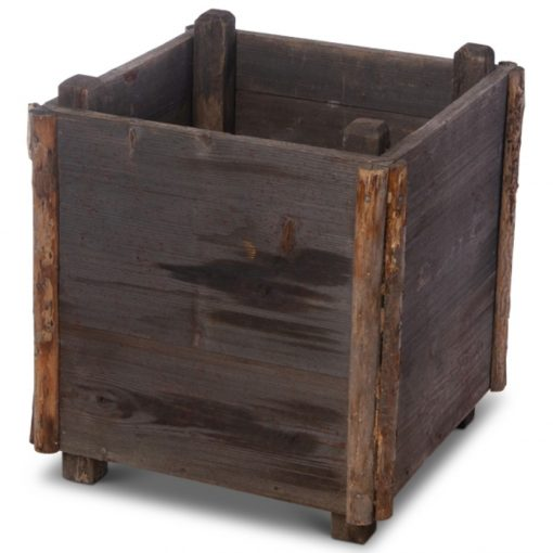 Grey square wood planter box