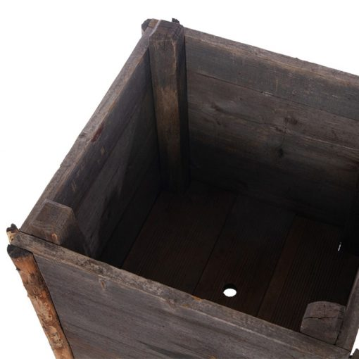 Interior of outdoor wood planter box