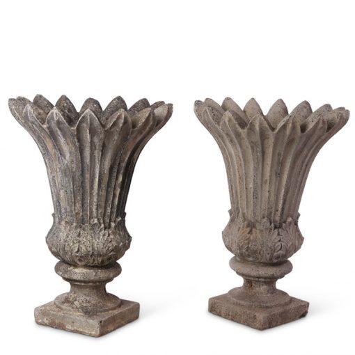 Pair of concrete garden urns