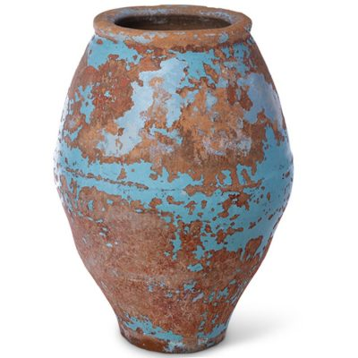 Turquoise-russet terra cotta pot