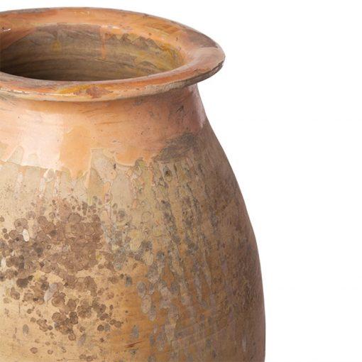 Glazed rim and neck of terracotta pot