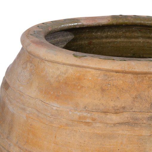 Glazed rim of clay planter