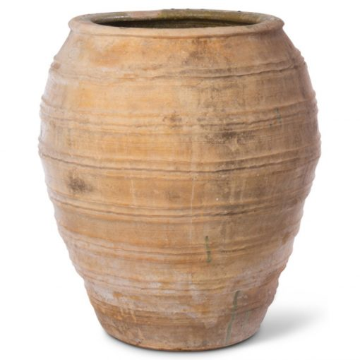Large clay planter with etched rings