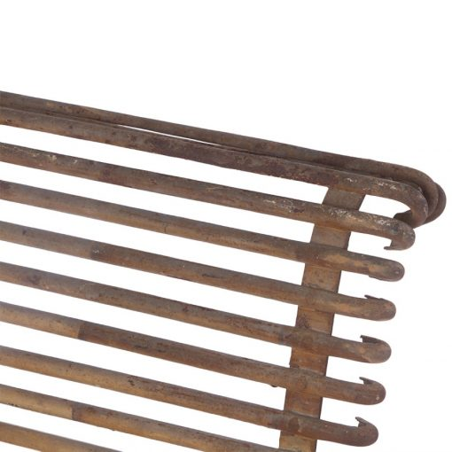 Detailed view of antique iron chair for outdoor