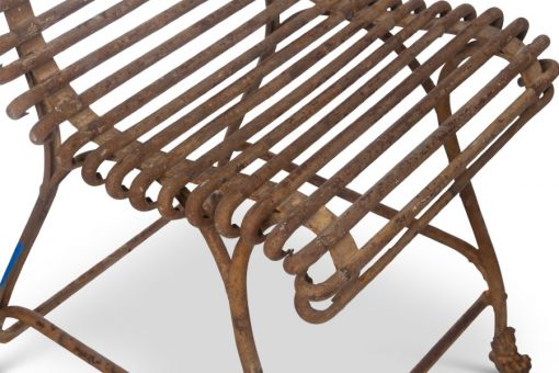 Detail view of wrought iron chair