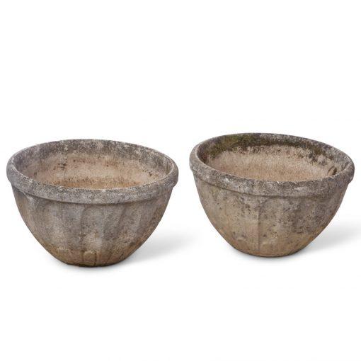 2 vintage low bowl planters