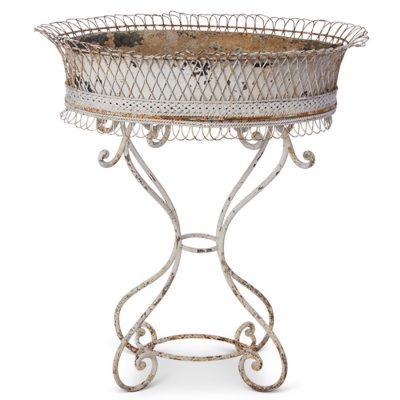 Antique metal planter stand, outdoor