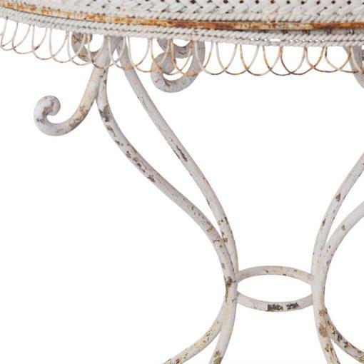 Closeup of antique metal planter