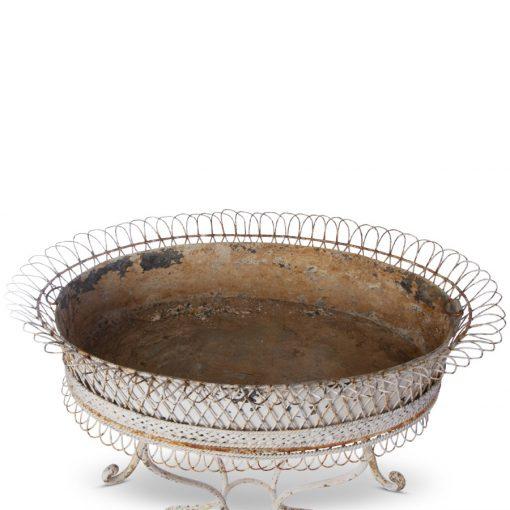 Closeup of antique planter tray