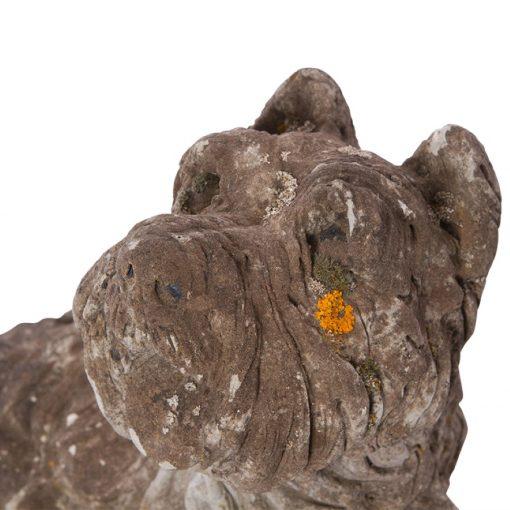 Closeup of vintage garden dog statue
