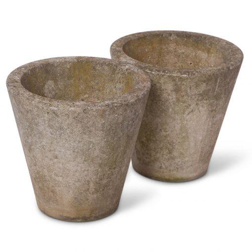 2 vintage concrete round planter pots