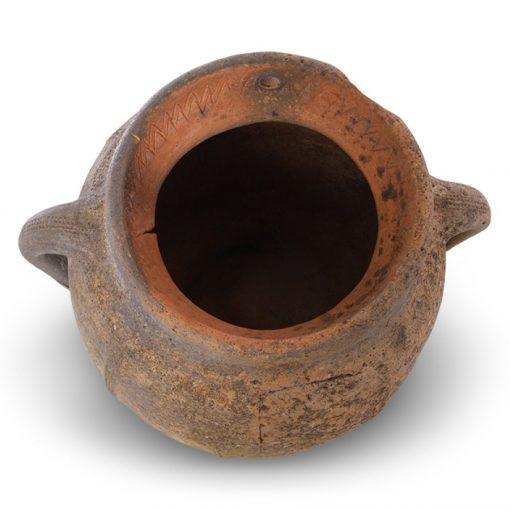 Interior of antique clay planter pot