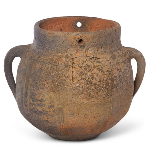 Antique clay jar with handles