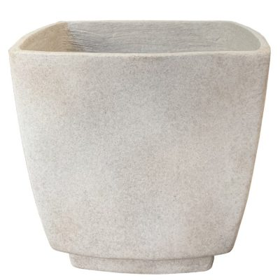 Tall square planter with square base in natural stone finish