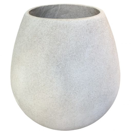 Egg shaped, round planter pot in French grey